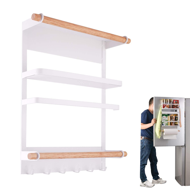 QILICHZ Magnetic Fridge Organizer Kitchen Rack Refrigerator Side Shelf Paper Towel Holder Spice Jars Rack Heavy-Duty Refrigerator Shelf Storage Including 6 Removable Hooks (White) - 2018