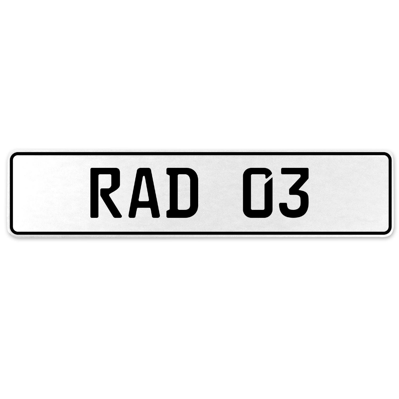 Vintage Parts 553907 RAD 03 White Stamped Aluminum European License Plate
