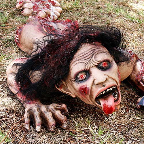 Halloween Haunters 45'' Animated Crawling Human Zombie Torso Prop Decoration - Animatronic Crawl Rubber Latex Moaning Dead Man - Battery Operated by Halloween Haunters (Image #2)