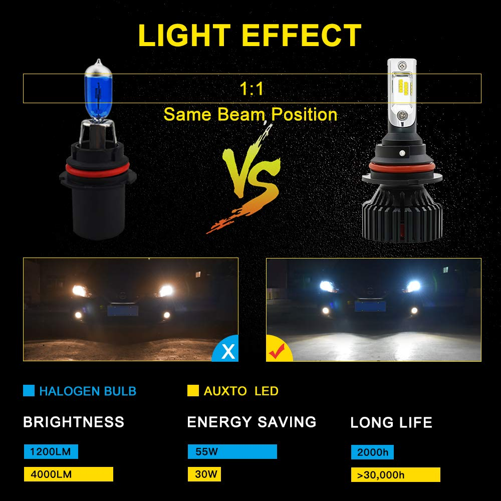 AUXITO 9007 Led Headlight Bulbs ZES Led Chips 6500K Xenon White 8000 Lumens All-in-One Automobile Hi//Lo beam LED Headlight Conversion Kit New Version