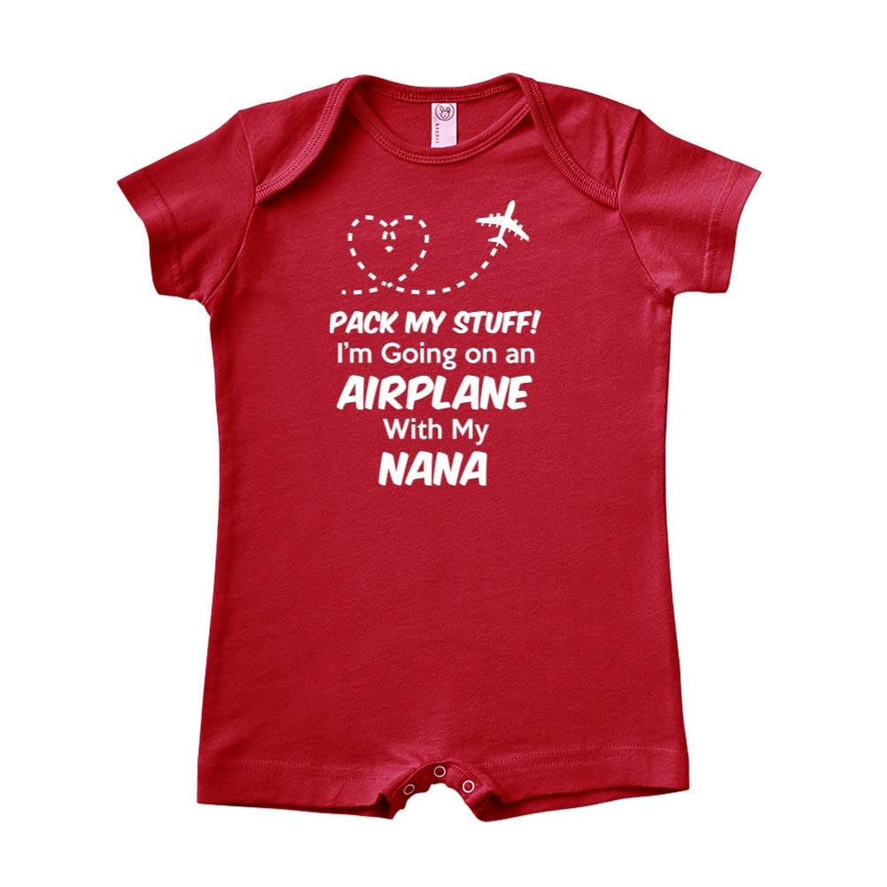 Pack My Stuff Baby Romper Im Going On an Airplane with My Nana