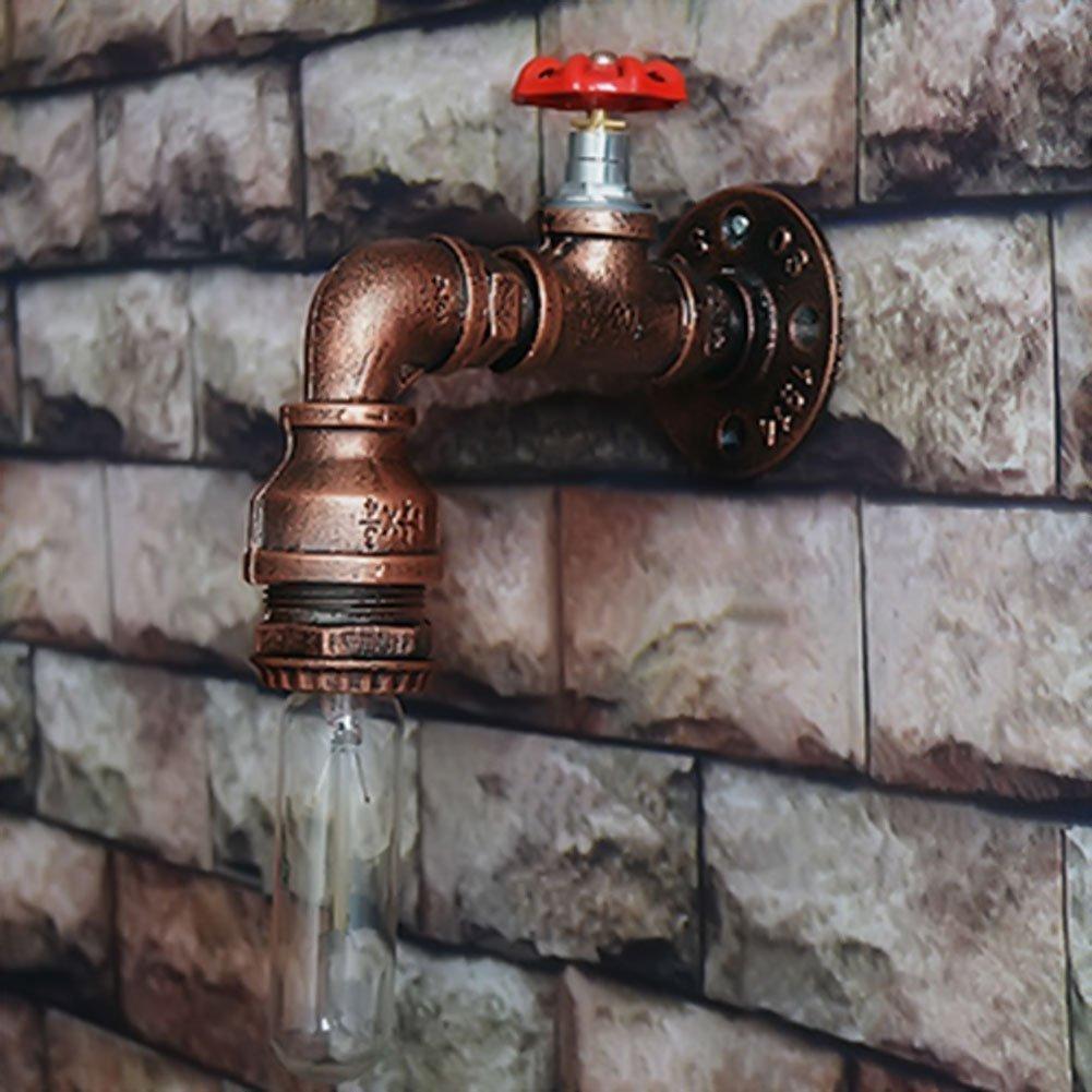 Wasser Pipe Wandleuchter, SUN RUN Metall Wasserhahn Vintage Industrial Wandleuchte mit Retro-Stil für Bar, Küche, Wohnzimmer und Schlafzimmer, E26 Sockel Lampe Küche