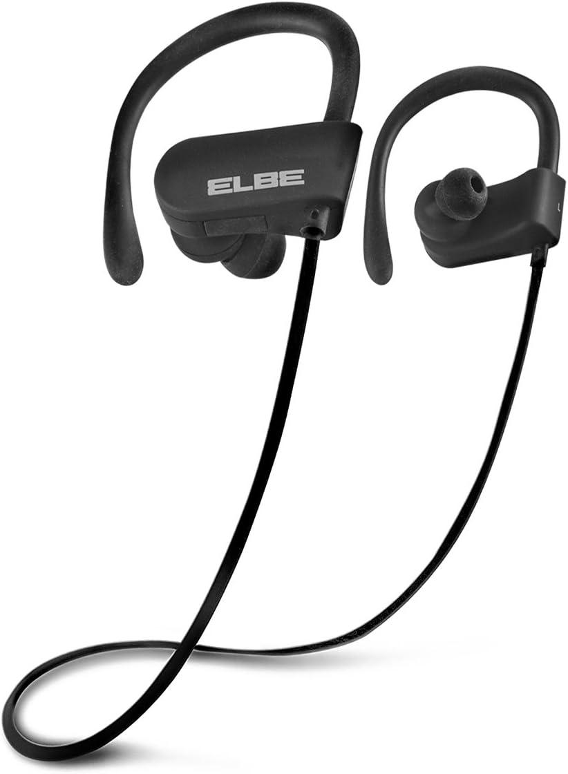 Elbe ABT-053-DEP - Auriculares Deportivos (Bluetooth V4.2 + EDR, 10 m, 6 Horas de conversación, Stand-by hasta 250 Horas) Negro