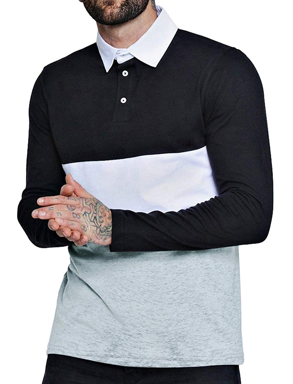 Musen Men Long Sleeve Polo Shirts Casual Cotton Modern Fit Color Block Rugby Polo Tshirts