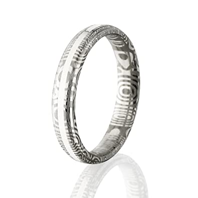 Damascus Steel Wedding Bands Usa Made Sterling Silver Rings Damascus