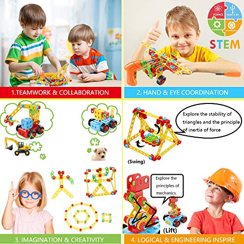 Building Toys, 404 Pieces STEM Toys Kit Creative Construction Engineering Learning Set for 5, 6, 7, 8+ Year Old Boys&Girls Best Toy Gift for Kids |Take-A-Part Building Blocks