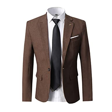 2d6b015b3a0 Men s Blazer Slim Fit Formal Suit Jacket One Button Casual Sports Coat at  Amazon Men s Clothing store