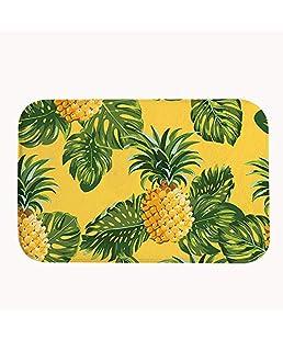 Rioengnakg Pineapples Pattern Bath Mat Coral Fleece Area Rug Door Mat Entrance Rug Floor Mats for Front Outside Doors Entry Carpet 50 X 80 X 1.3cm