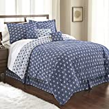 Spirit Linen, Inc Hotel 5th Ave King Royal Blue/White Hotel 5th Ave Galaxy Collection 7 PC Comforter Set
