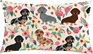 Jimrou Throw Pillow Cover 12x20inches Festival Gifts Hand Painted Dog Animals Pet Dachshund Flowers to Dog Lover Decoration Cotton Linen Decorative Home Sofa Chair Car Throw Pillow Case Cushion Cover