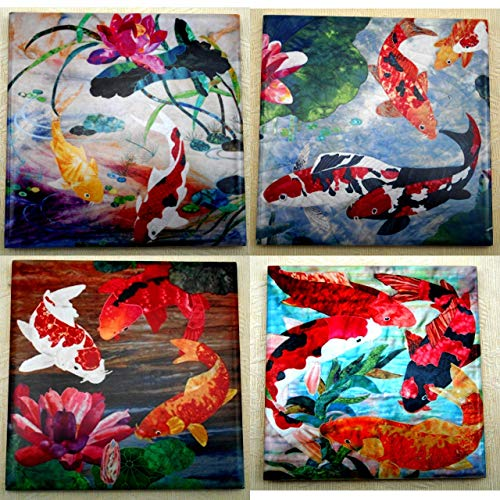 Set of 4 Ceramic Tile Coasters Trivets, Koi Fish and Lotus Flower Art, Good Luck Housewarming Gift