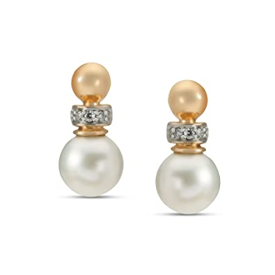 56f500f7d Buy Mia by Tanishq 14KT Yellow Gold, Diamond and Pearl Stud Earrings for  Women Online at Low Prices in India | Amazon Jewellery Store - Amazon.in