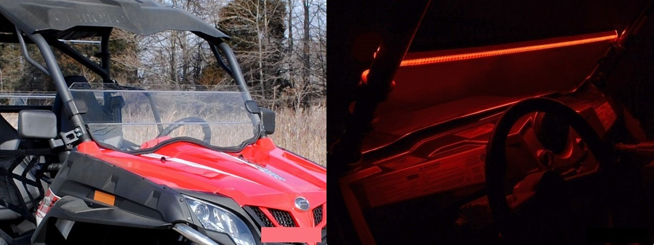 CFMOTO ZForce 800EX 2014+ Scratch Resistant Half Windshield | LED Windshield Light Strips (Red)