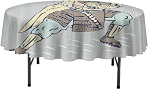 Aishare Store Table Cloth Japanese Samurai Warrior Drawing Sword Fighter Theme Illustration Dinner Table Cover for Buffet Table D63 Inch Baby Blue Chocolate Baby Pink
