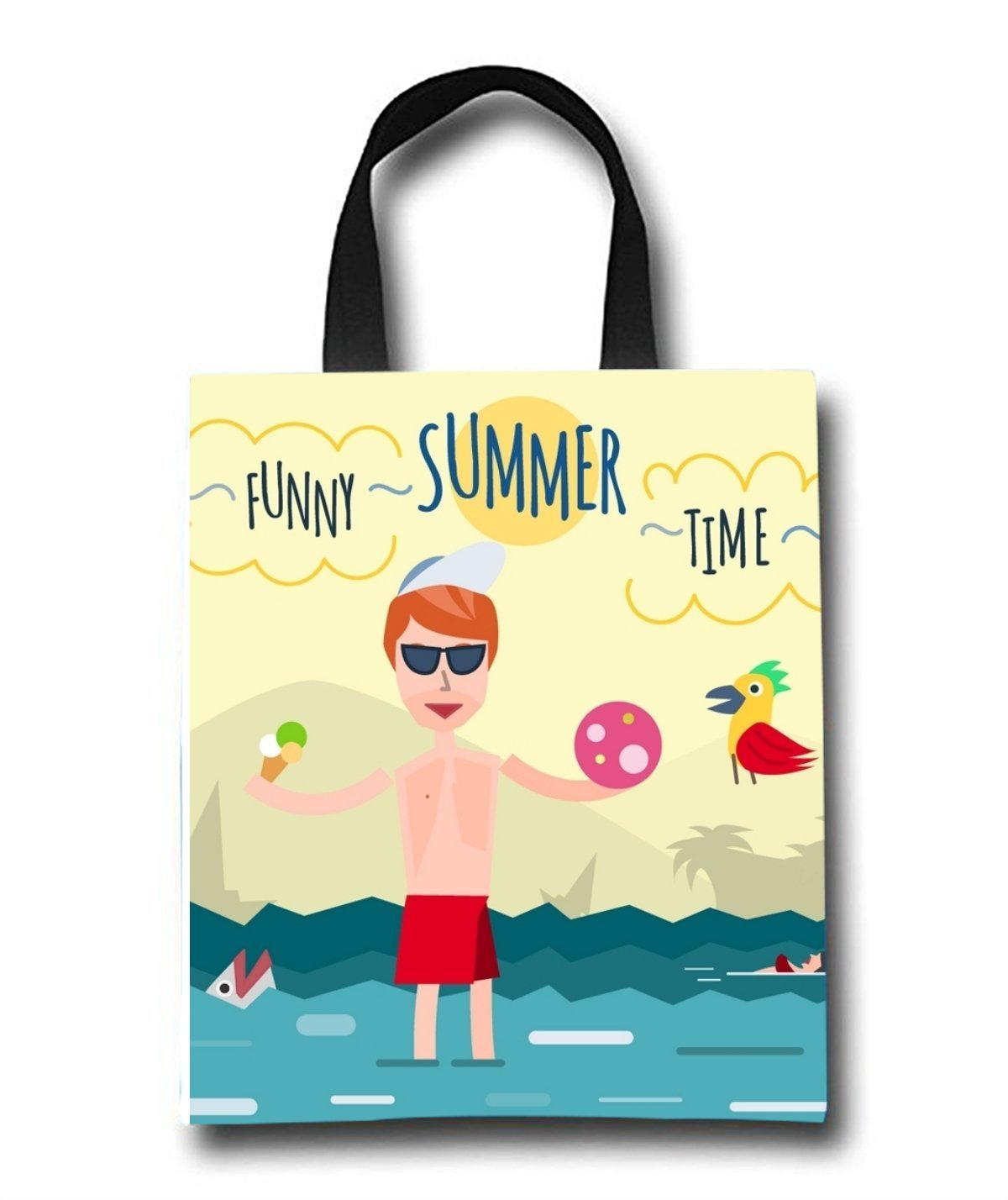 Funny Summer Time Beach Tote Bag - Toy Tote Bag - Large Lightweight Market, Grocery & Picnic