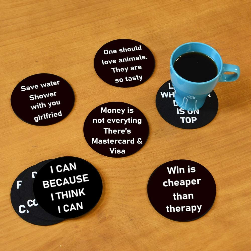 Living Room Decorations Using European Premium Felt Housewarming Gifts for New Home Absorbent Drink Coaster 8 Sayings Inspirational Funny Coasters 8 Piece Absorbent Felt Coasters for Drinks