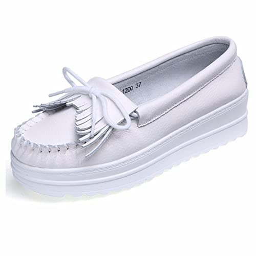 Moonwalker Mocasines Confort Mujer Plataforma en Cuero Zapatos Sanitarios Hospital: Amazon.es: Zapatos y complementos