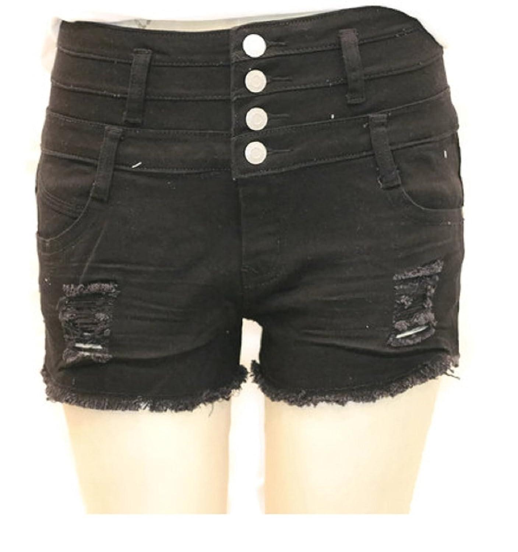 TrafficJeans Traffic Women's High Waist Ripped Distress Fashion Stretchy Denim Shorts