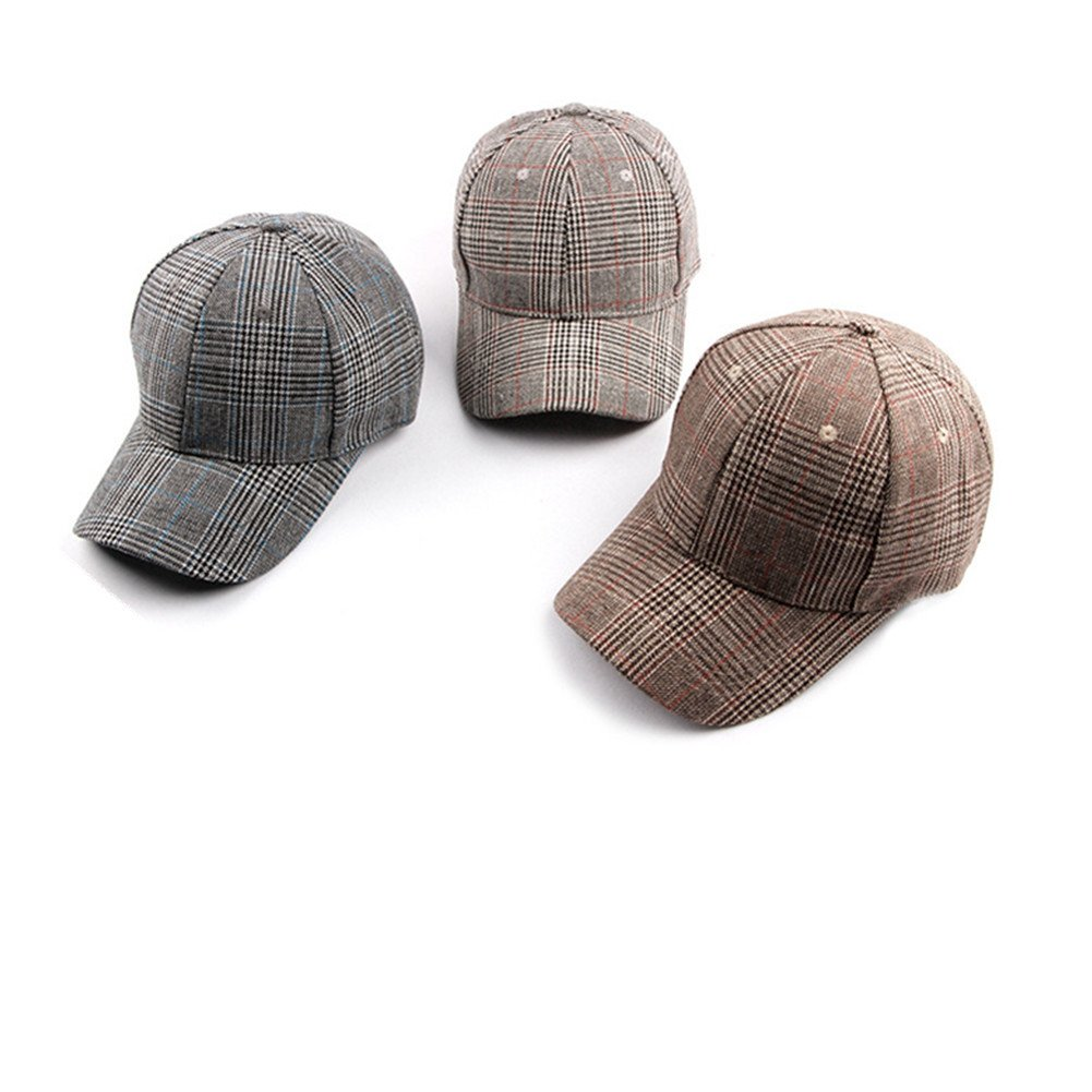 Dosige Sombrero de Cuadros para Mujer,Aire Libre Gorro Pesca Size 55-61cm Gris Oscuro Sombrero Ajustable,Visera de la se/ñora,para Alpinismo