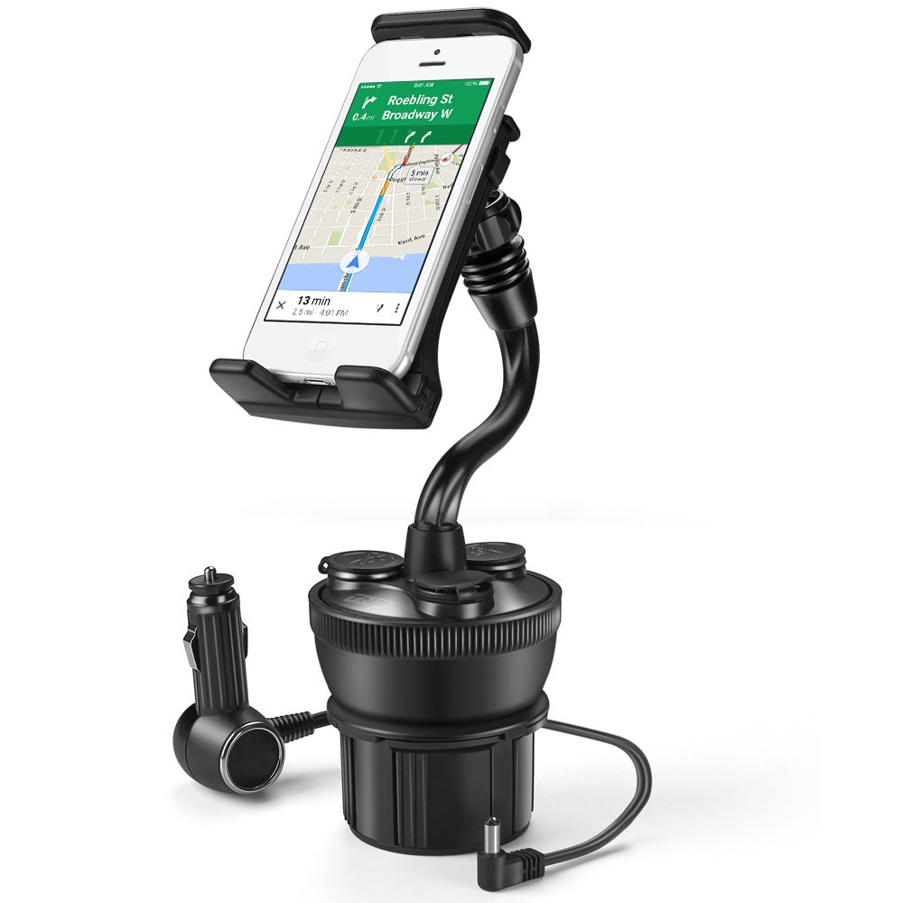 TNP Smartphone Car Mount Holder Charger Station - Universal Car Cup Holder Mount with 3 Sockets and 2 USB Charge Port 2.1A for iPhone 7, 7 Plus, 6, 6 Plus, Samsung Galaxy Android Smart Phone, Camera
