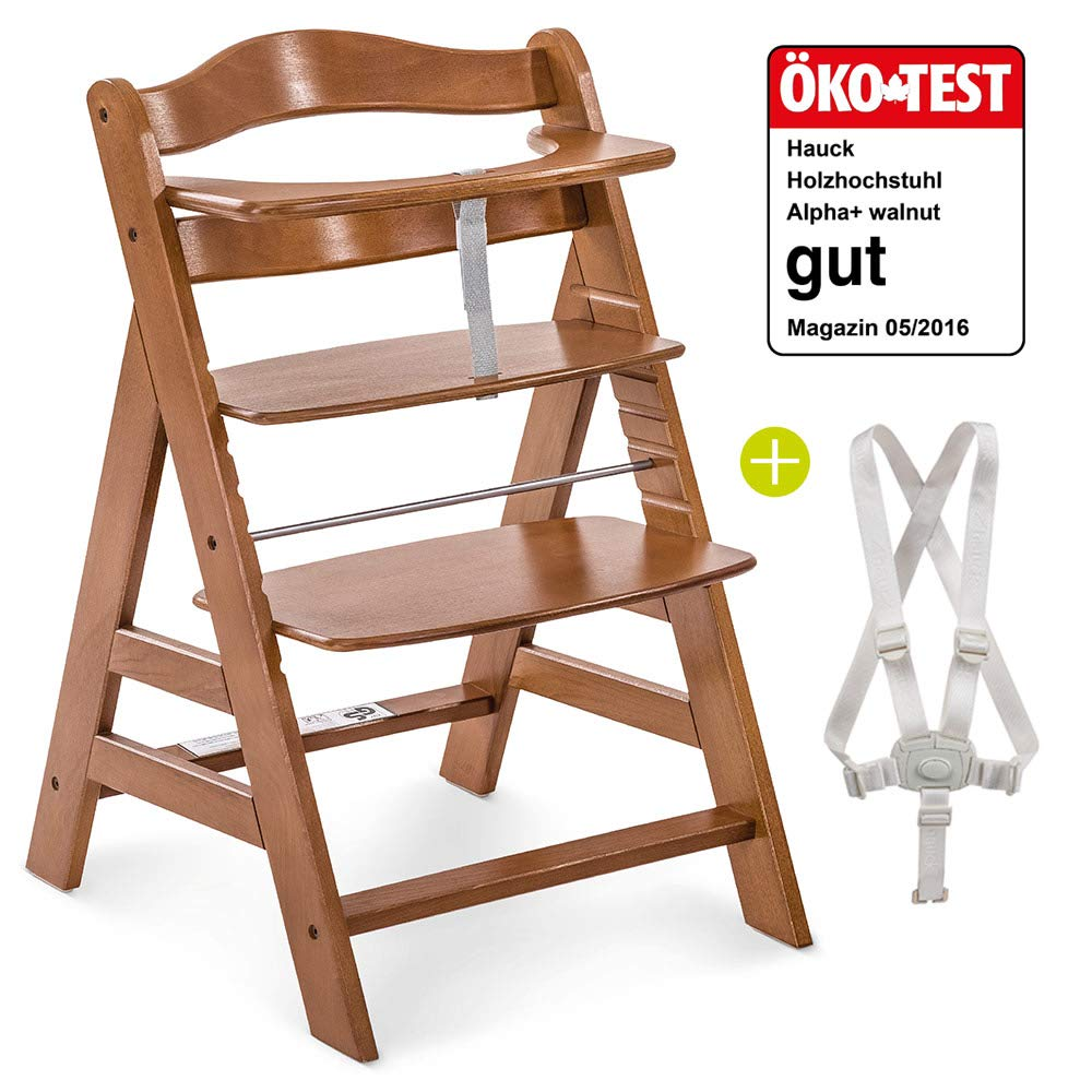 Hauck High Chair from Infant to Toddler with Baby Bouncer Insert Cushion and 5-Point Harness Wooden High Chair for Babies High Chair Baby Brown Hauck Alpha Plus Newborn Set Deluxe
