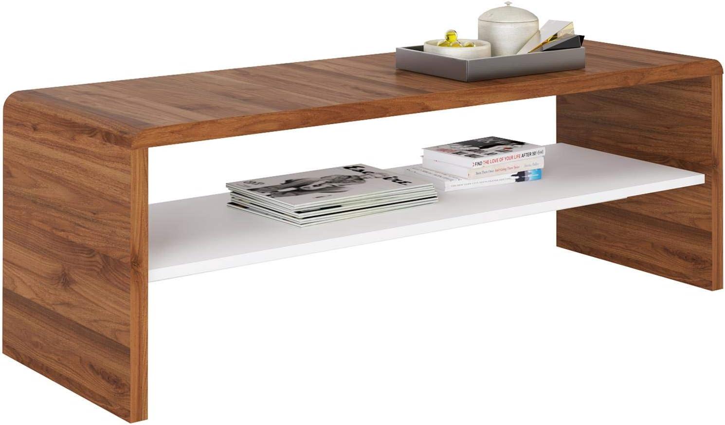 en m/élamin/é d/écor b/éton Table de Salon rectangulaire ou Meuble TV de 120 cm avec 1 /étag/ère Espace de Rangement Ouvert IDIMEX Table Basse Noelle