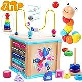 WUKADA ビーズコースター ルーピング おもちゃ 子供 知育玩具 セット ベビー 早期開発 男の子 女の子 誕生日の木製 マルチアクティビティ ボックス
