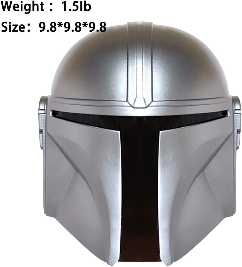 Casco Halloween Star Wars Accesorios para Disfraz de Adulto Casco mandaloriano de Resina Boba Fett Color Plateado m/áscara de Cabeza Completa Cosplay