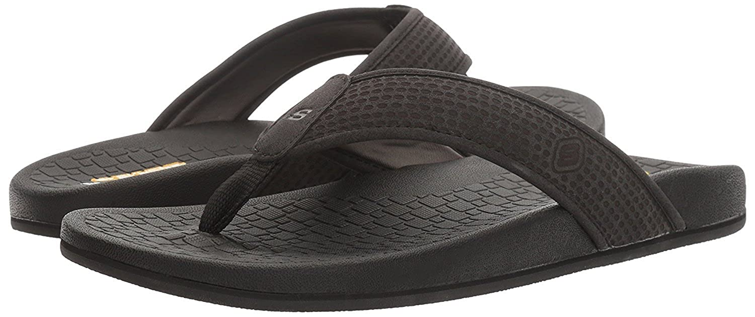 b050df8fb8f964 Skechers Men s Relaxed Fit Pelem Emiro Black Flip Flops (UK-11 (US-12))   Buy Online at Low Prices in India - Amazon.in