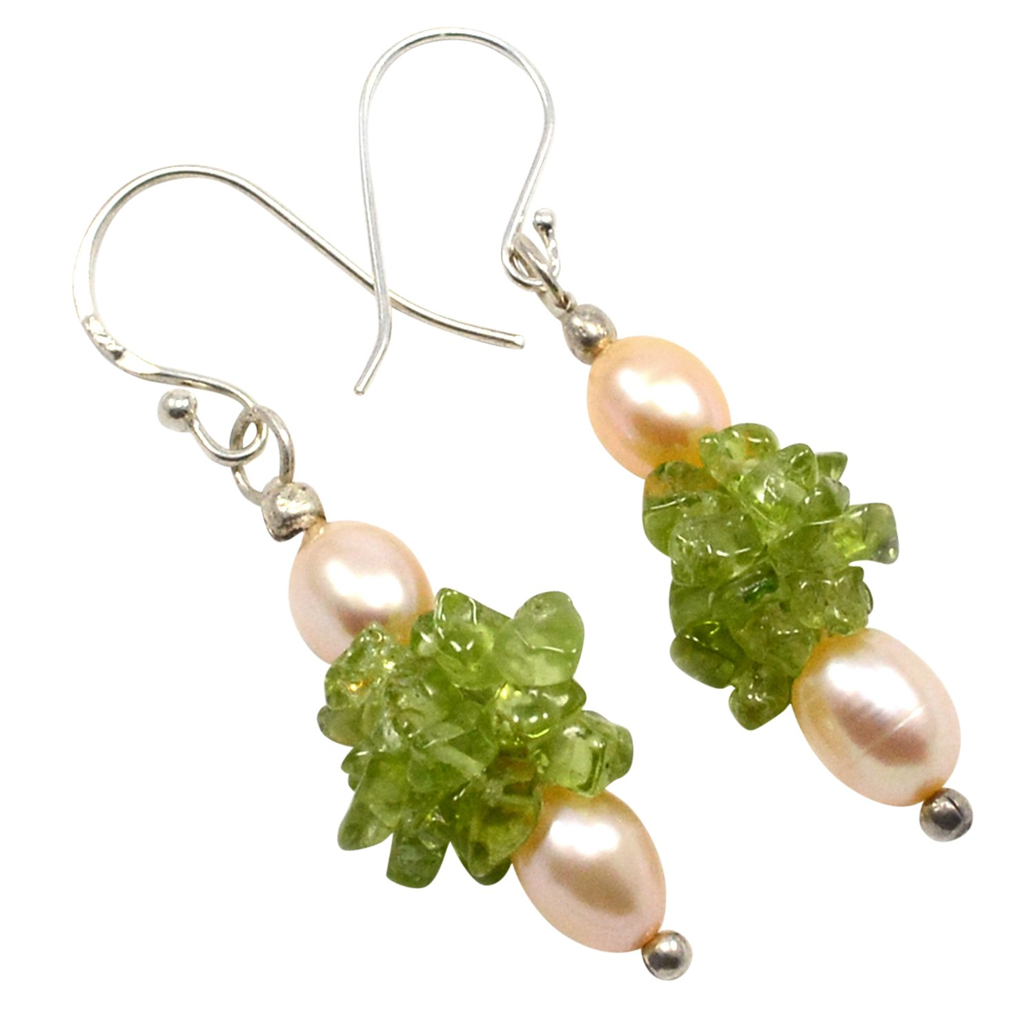 Saamarth Impex Peridot /& Pearl Gemstone 925 Sterling Silver Dangle Earring PG-105361