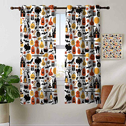 petpany Bathroom Curtains Halloween,Halloween Icons Collection Candies Owls Castles Ghosts October 31 Theme,Orange Yellow Black,Room Darkening Waterproof Curtains for Bathroom 42