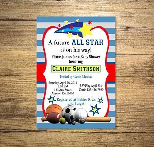 Amazoncom All Star Sports Boy Baby Shower Invitation Sports Theme