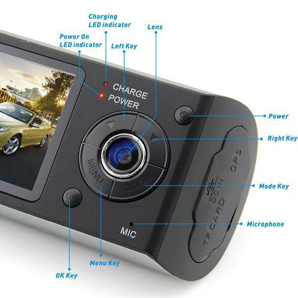 Indigi 2.7'' TFT LCD HD Dash-Cam DualCam Car DVR w/GPS Tracker + Google Maps + G-Sensor