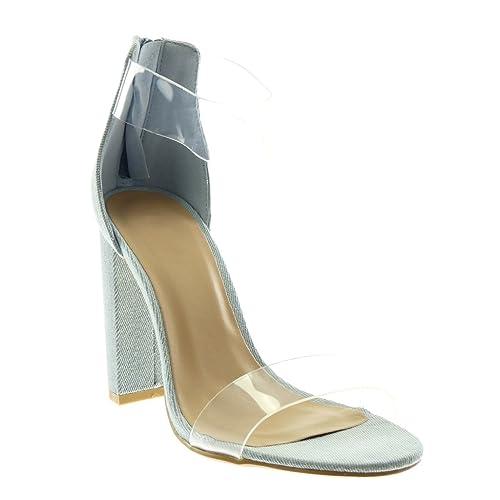 16ede18d1d6e68 Angkorly - Chaussure Mode Sandale Escarpin lanière Cheville Jeans Denim  Femme Transparent lanière Talon Haut Bloc