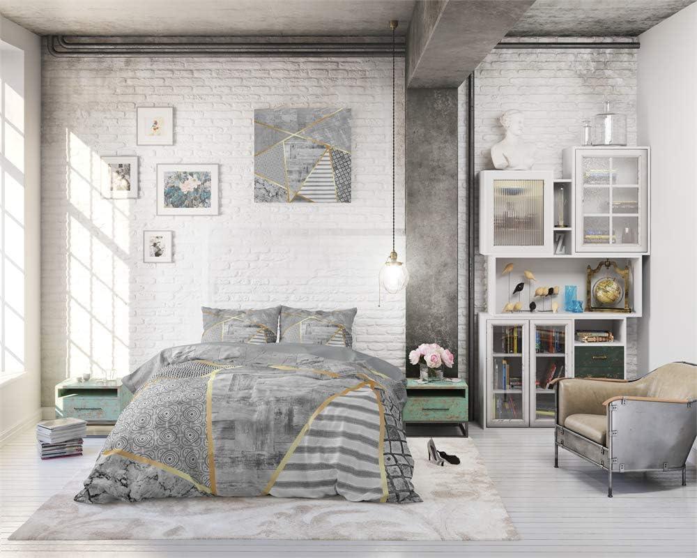 140cm x 220cm avec 1 Housse doreiller 60cm x 70cm Blanc Dreamhouse Housse De Couette Coton Graphic