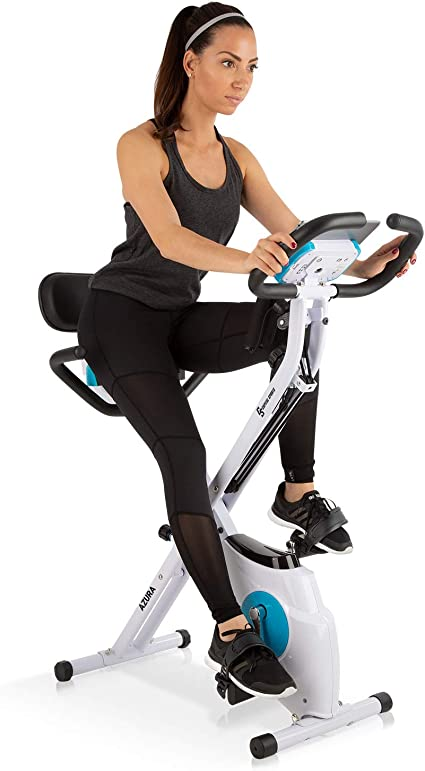 Klarfit Azura Plus Bici estática 3 en 1 - Bicicleta de Fitness, Entrenamiento de Cardio, Tracción por Correa, Pulsómetro, Resistencia magnética de 8 Niveles, Soporte para Tablet, Blanco: Amazon.es: Deportes y aire libre