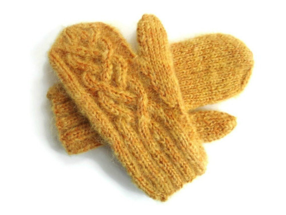 Gold Mittens Hand Knit Wool and Mohair with Celtic Twist Cable