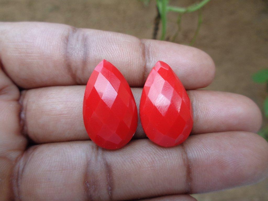 Lose Koralle rot Tropfenform Briolette Perlen, facettiertem Stein für Schmuckherstellung 15x25 mm rot 8945028469854