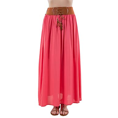 f726450b7f6bb Mim - Jupon long uni ceinture - Femme - 44 - CORAIL  Amazon.fr ...