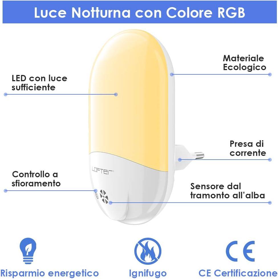 1 pi/èce Veilleuse Enfant LED LOFTer Veilleuse Prise Electrique Multicouleur Automatique Plug-And-Play Veilleuse Secteur Avec Capteur Cr/épusculaire