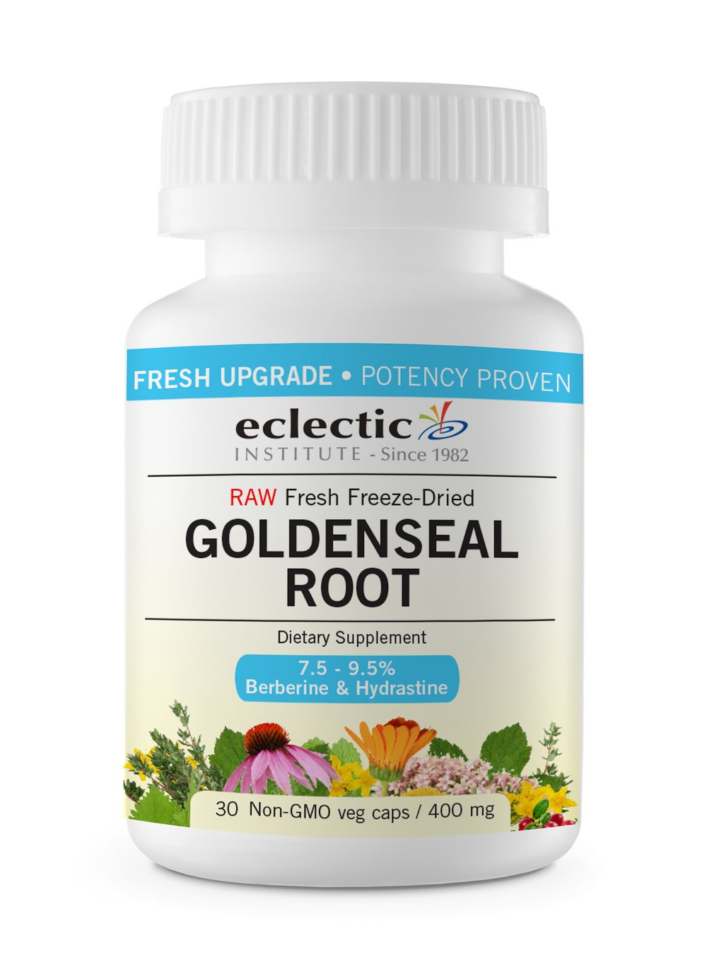 Eclectic Goldenseal Root 400 Mg Fduv with Glass, Blue, 100 Count