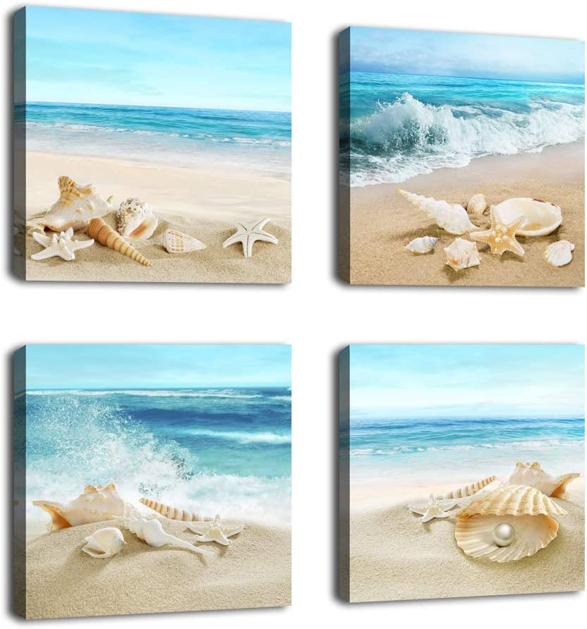 "Canvas Wall Art Ocean Decor Beach Seashell Starfish Nature Picture Blue Canvas Artwork Turquoise Contemporary Wall Art for Bathroom Bedroom Living Room Office Kitchen Wall Decor 16"" x 16"" x 4 Pieces"