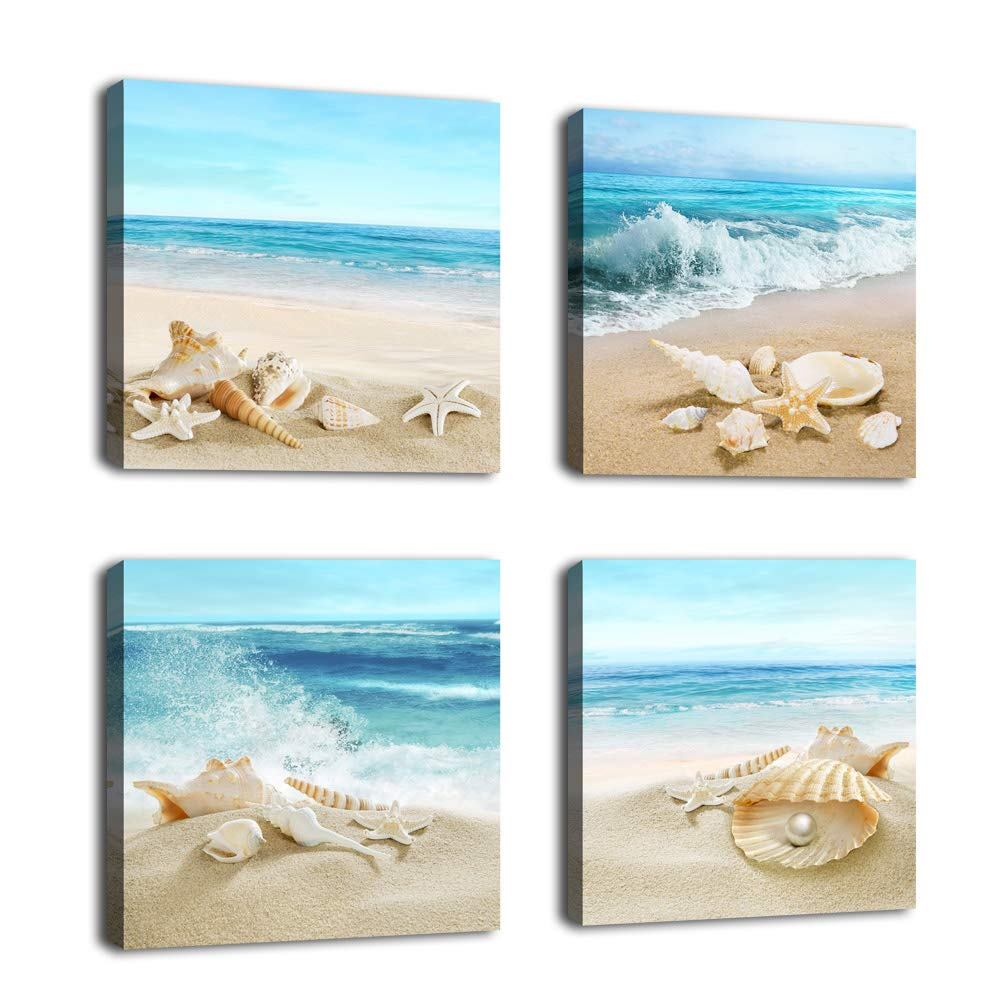 "Canvas Wall Art Seashell Starfish on Beach Picture Blue Canvas Artwork Turquoise Contemporary Wall Art Prints for Bathroom Bedroom Living Room Decoration Office Wall Decor 12"" x 12"" x 4 Pieces"