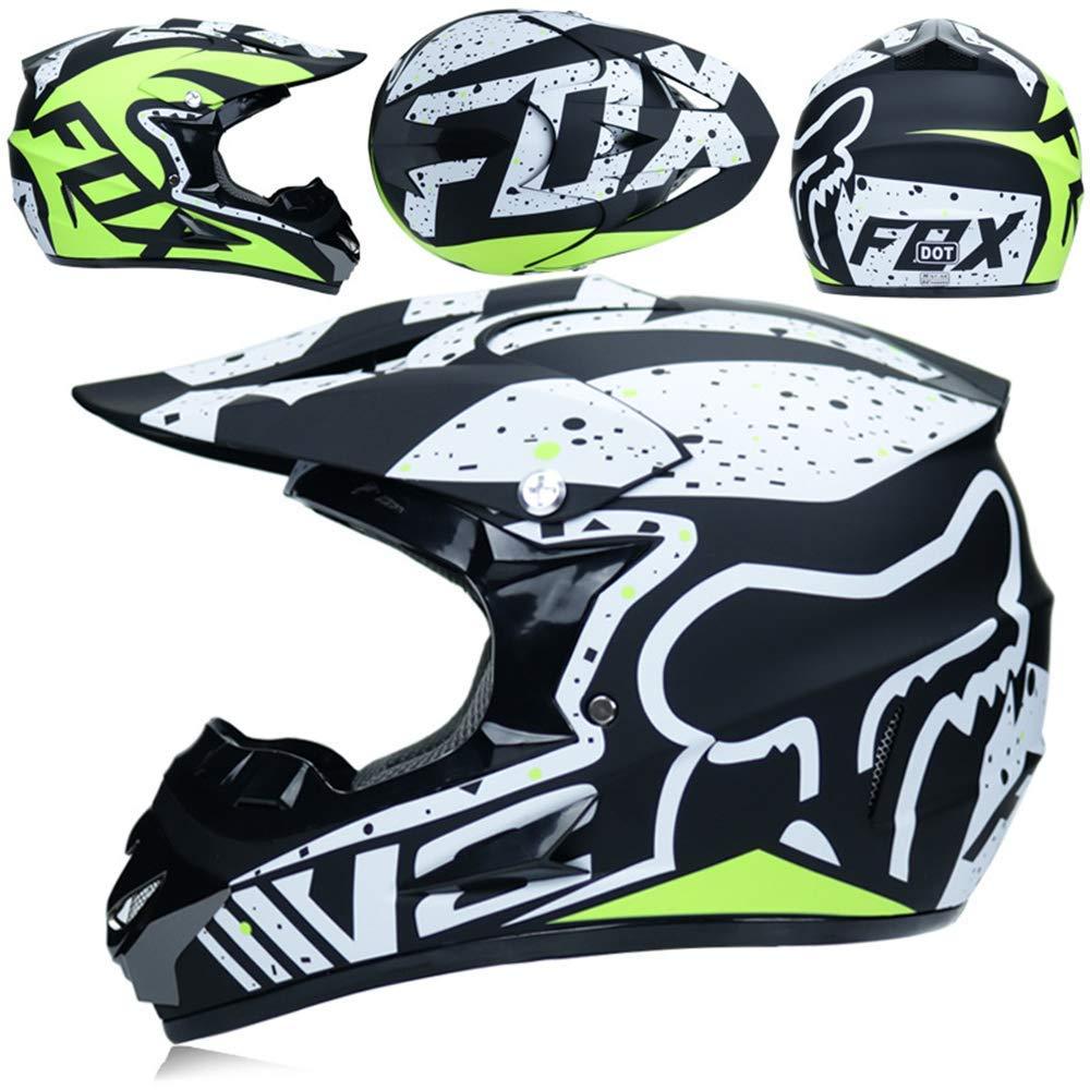 L59~60CM S, M, L, XL AA-Helmet TOKU Casco de Motocross para Adultos MX Casco de Moto ATV Scooter ATV Casco Fox Series con Gafas Guantes M/áscara a Prueba de Viento