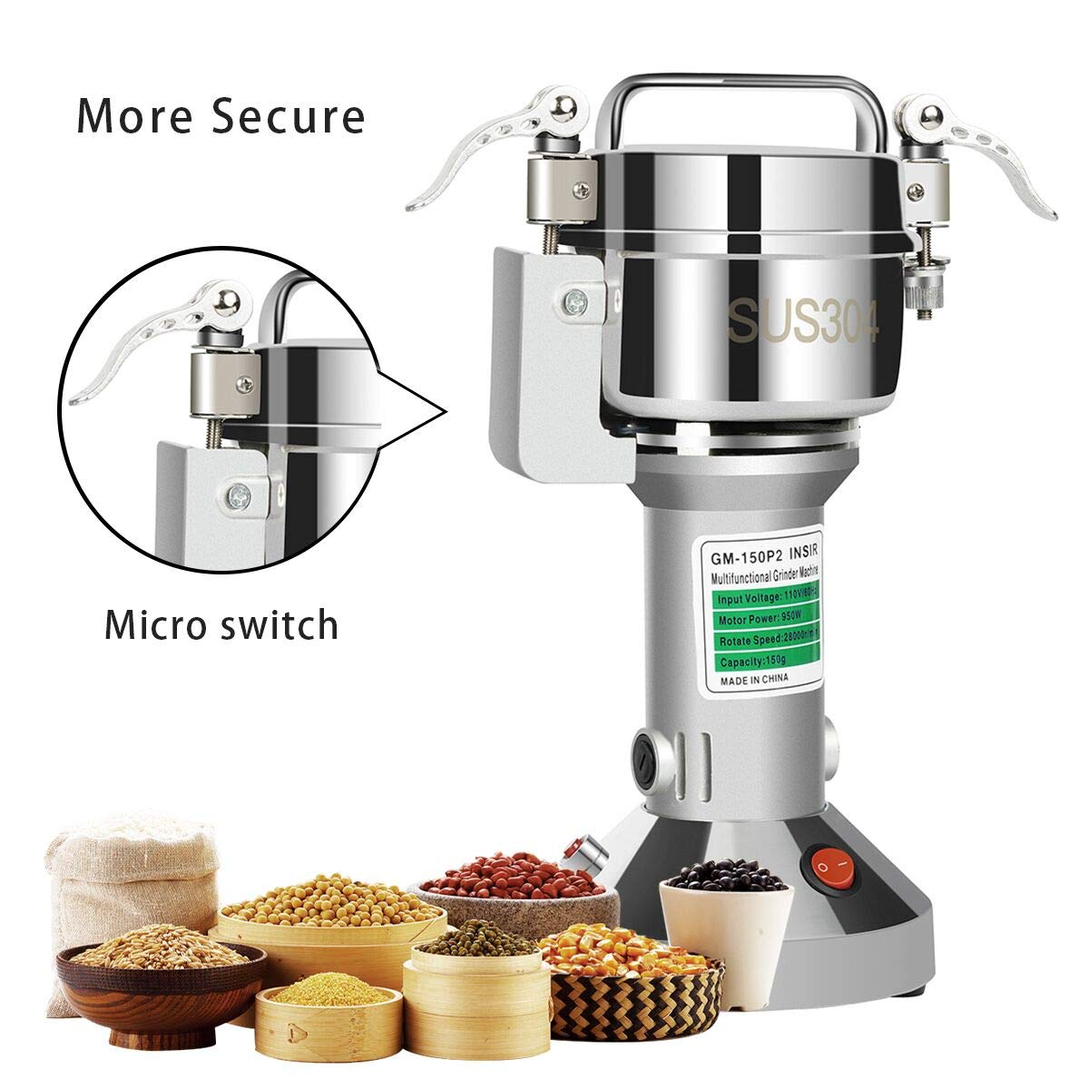 Insir Grain Grinder Mill Stainless Steel Electric High-speed Family Medicial Powder Machine Commercial Cereals Grain Mill Herb Grinder,Pulverizer 110v Gift for Mom, Wife (150G) by Insir