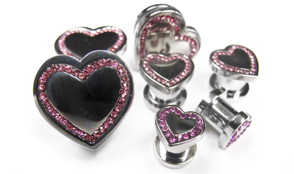 Pair of 5/8'' Gauge (16mm) Heart Front Steel Plugs With Pink CZ Gem Stones