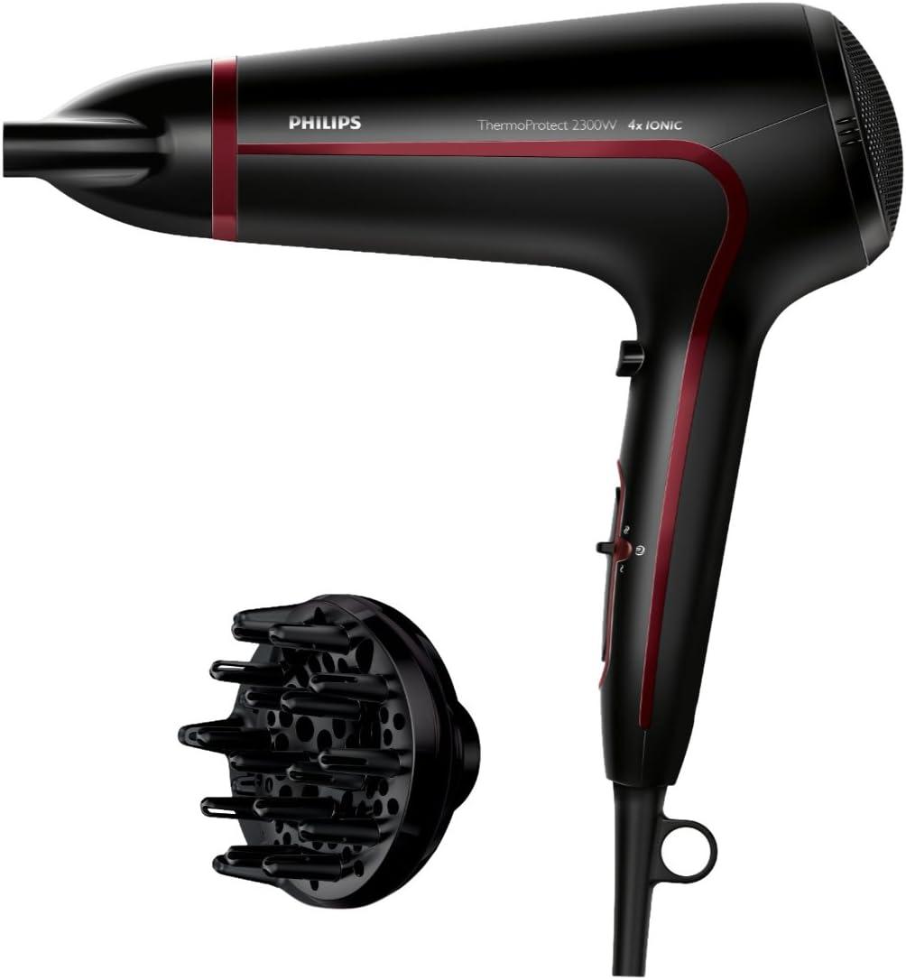 Philips Thermoprotect HP8238/10 Secador de Pelo, 2300 W, Seis posiciones flexibles de velocidad y temperatura para un control completo, Color Negro y Rojo