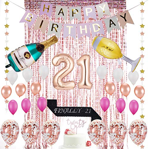 21 Party Decorations (21st Birthday Decorations| 21 Birthday Party Supplies | 21 Cake Topper Rose Gold | Finally 21 Sash|Rose Gold Confetti Balloons for her| Foil Fringe Curtains for Finally Legal 21st Birthday)