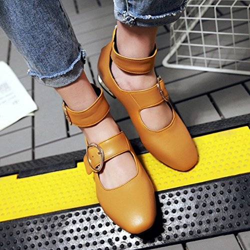 COOLCEPT Mujer Moda Mary Jane Tacon Bajo Zapatos Vintage Al Tobillo Zapatos Amarillo