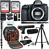 Canon EOS 6D Mark II Digital SLR Camera Body, 64GB 2 Pack, Ritz Gear Photo Camera Backpack, Tripod, Battery, Cleaning Kit, Monopod and Accessory Bundle
